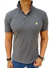 Men's BROOKS BROTHERS £75RP Grey 'SLIM FIT' POLO TSHIRT Size MEDIUM (1770)