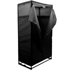 Double garde-robe / vêtements stockage avec toile Housse - Noir zla333104