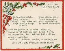 VINTAGE CHRISTMAS MOLD CHICKEN SALAD GELATIN RECIPE 1 GINGERBREAD TEA CUP CARD