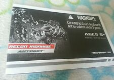 Transformers ROTF RECON IRONHIDE INSTRUCTION BOOKLET ONLY