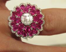 LAST DAYS!! $9,510 RARE IMPORTANT 18KT LARGE 6CT RUBY & DIAMOND GOLD FLORAL RING