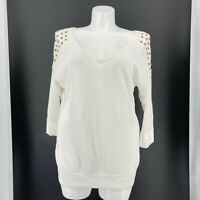 Torrid Sweater Solid White Open Knit Studded V Neck 3/4 Sleeve Size 3