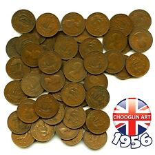 More details for (x50) 1956 british bronze elizabeth ii halfpenny ½d coins