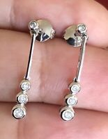 Solid 14ct White Gold Diamond Solitaire Drop Earrings 0.30ct Dangle