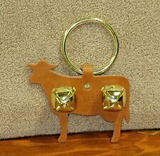New Genuine Leather Cow Tan Door Knob Jingle Bells Hanger Decorative