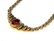 Bijou plaqué or 18 carats chaine maille plate souple cristal rubis  necklace