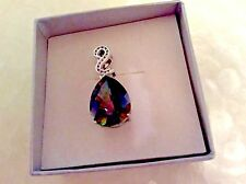 14K White Gold Pendant With Earrings, Bracelet Mystic Topaz and size 7 Ring