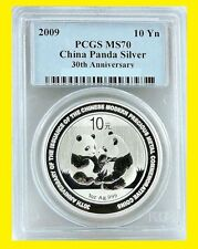 2009 CHINA 10Y 1 OZ 999 SILVER PANDA pcgs MS 70 30th anniversary RARE BEAUTY
