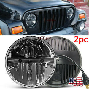 2pc 7 Inch Round Black LED Headlight Hi/Lo Sealed Beam Headlamp for Hummer H2 H1