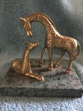 Brass Giraffe And Baby On Green Marble Slab