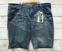 Encrypted Jean Shorts Mens Size 46 Slim Fit Stretch Moto Denim Shorts New