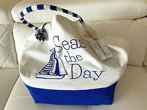 NWT Tommy Bahama Beach Tote Big Bag Blue Sea Shopping Travel Lightweight