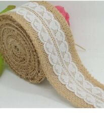 2 metres of Heart lace & hessian- wedding, Jars, Jute Burlap, Table Decoration