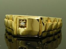 MR012 Genuine 18K 18ct Yellow Gold Natural DIAMOND Watch-link Mens Ring size T