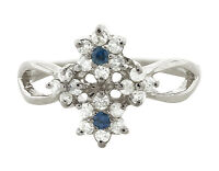 0.4Ct Round Blue Sapphire Diamond Cluster Flower Wedding Band 10K Gold