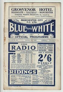 Manchester City V Grimsby Town Rare Division One Programme 1935/36