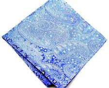 "US Seller New 10"" 100% Silk Pocket Square Blue Paisley"