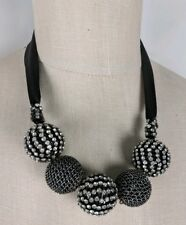Banana Republic Crystal Statement Necklace Black Silver Rhinestone NEW