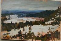 Russian Soviet Oil Painting realism impressionism Landscape winter 1950s y.