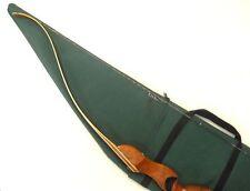 """Traditional Archery  STRUNG RECURVE BOW CASE  Green Cordura  / Gray Fleece  66"""""""