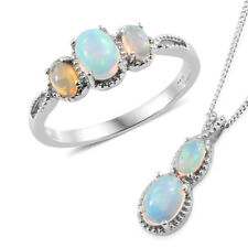 Ethiopian Welo Opal Platinum Over Sterling Silver Ring (Size 6) and necklace