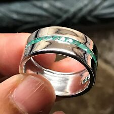 AAA/AA Natural Emerald 925 Solid Sterling Silver Men's Band Ring sz 10