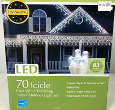 70 Cool White LED Icicle Christmas Lights Twinkling Indoor Outdoor Wire 9 ft New