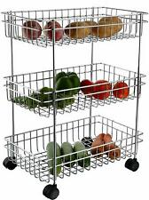 3 Layer Stainless Steel Kitchen Cart Fruit Vegetable Stand Cart Trolley Rack