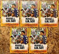 (5) 2012 Russell Wilson Seahawks Cracked Ice Gold Rookie Gems Limited Rookie