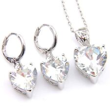 2 pcs 1 Lot Heart Shaped White Fire Topaz Gemstone Silver Dangle Hook Earrings
