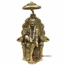 Brass Antique Shirdi SAI BABA Statue 6 inch Sitting on a throne ~ For Prosperity