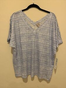 NWT Chicos Stripe Knit Top, V Neck, S/S, Blue, White - Size 3