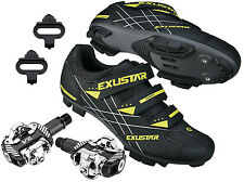 EXUSTAR E-SM366 Mountain Bike Bicycle Cycling Shimano SPD Shoes+VP Sealed Pedals