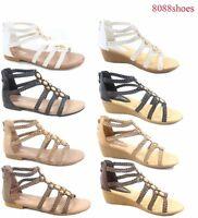 Women's Summer Low Wedge Flat Heel Ankle Strap Open Toe Sandal Shoes Size 5 - 10
