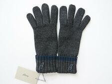 "$695 NEW BRIONI Soft Extrafine Merino Wool Graphite Gray ""B"" Gloves Size XL"
