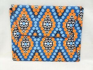 "VERA BRADLEY Envelope Marrakesh Beads Faux Leather Flap 10""x8"" Tablet Case Blue"
