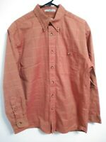 Orvis Mens Size Medium Orange Red Plaid Cotton Long Sleeve Button Up Shirt