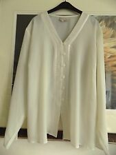 Long ESSENCE Sheer Ivory Button up Blouse Shirt Satin Trim Long Sleeve size 22