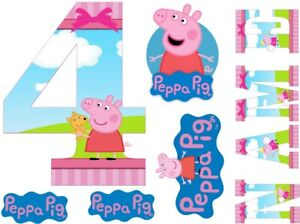 PEPPA PIG INSPIRED NAME AND NUMBER PERSONALISED CAKE EDIBLE ICING TOPPER