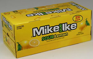 Mike and Ike Sour Lemon Chewy Candy Box of 24 Individual Packs Bulk Candies