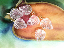 Vtg 100 Clear Frond Leaf With Findings Jewelry Glass Beads 15mm #050212b