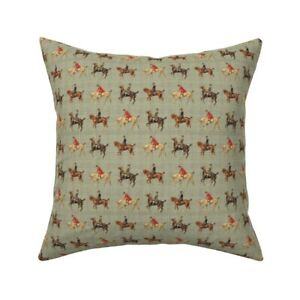 Equestrian Horse Plaid Vintage Throw Pillow Cover w Optional Insert by Roostery