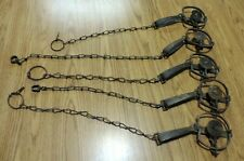 5 Vintage Antique Victor 1 1/2 longsprings cast jaw traps