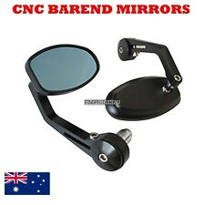 Black Reverse Retro CNC Bar End Mirrors Triumph Speed Triple 1050 07-10 12 alloy