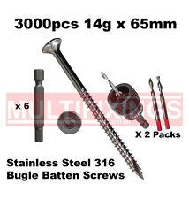3000pcs - 14g x 65mm Stainless 316 Bugle Head Screws + SmartBit