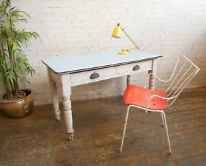 Antique Victorian 2 Drawer Kitchen Prep Table Desk with 50s 60s MCM Formica Top