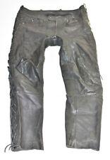 """Black Leather LOUIS Lace Up Biker Motorcycle Men's Trousers Pants Size W39"""" L31"""""""