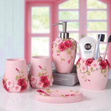 New Bathroom Resin Accessories Dispenser Soap Dish Toothbrush Holder 5PCS Pink