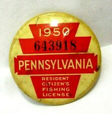 1950 PA Pennsylvania Resident Fishing License Pinback Button