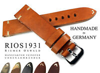 22mm handmade Germany RIOS1931 Retro Look  Leather Watch Pilot Strap 22/18